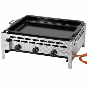 ACTIVA Grill 3-flammig Gastrobräter, 12kW, emaillierter Stahlpfanne, Gasgrill