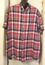 Men Foundry Supply Co. Shirt Red Plaid XXLT Button Front Short Slevee Excellent