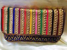 Multi Coloured Blue Handbag Clutch Wallet Bollywood Indian Sari Purse Art Silk