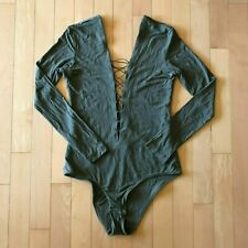 T by Alexander Wang Lace Up Body Suit, One Piece, Olive Green, Size M Medium