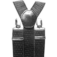 BLACK DOT DESIGN GENTS MENS 35mm WIDE ADJUSTABLE BRACES SUSPENDERS ELASTIC