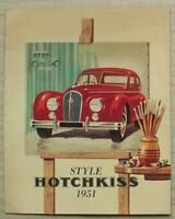 HOTCHKISS ANJOU Car Sales Brochure 1951 FRENCH TEXT