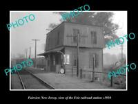 OLD LARGE HISTORIC PHOTO OF FAIRVIEW NEW JERSEY, ERIE RAILROAD STATION c1910