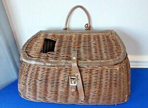 "Vintage WICKER FISHING CREEL Basket  - Great Patina Antique 17"""