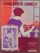 Somebody'S Lonely Davis & Gold Fred Rich Hotel Astor 1926 Sheet Music
