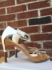 GIORGIO ARMANI Camel Tan Suede Open Toe Ankle Strap Sandals  37 7 7.5 RARE!