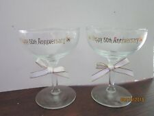 "50th WEDDING ANNIVERSARY 4 3/4"" Champagne WIne Toasting Glasses  Gold trims"