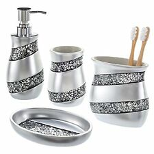 Creative Scents Bathroom Accessories, 4-Piece Mosaic Glass Bathroom Set – Luxury