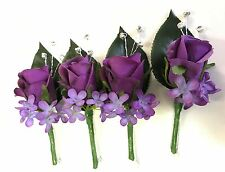 Silk wedding flower purple rose roses button hole flowers Diamante boutonniere 4