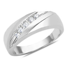 1/4CT Natural Diamond 5 Stone Wedding Band & Ring 10K SOLID White Gold for men