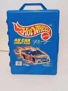 Hot Wheels 48 Car Blue Hinged Plastic Carry Case Storage 1999 Mattel #20020