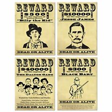 Western  Party Wanted Signs Cowboy Party Billy The Kid Jesse James CLOSEOUT
