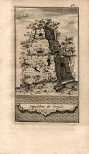 Stampa antica NAPOLI Sepolcro di Virgilio a Piedigrotta 1706 Old print