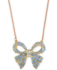 NEW BETSEY JOHNSON 'Blue & Rose Gold Boost' Bow Pendant Rose Gold-Tone Necklace