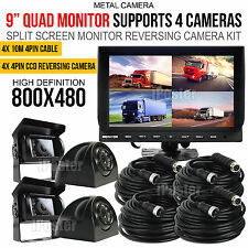 "9"" Quad Monitor 4Pin Tech Kit 4x CCD Camera Front+Reversing Camera For Truck Bus"