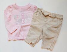 Girls Baby Gap Pink Naturally Sweet Shirt Khaki Belted Capri Outfit Lot 12 18