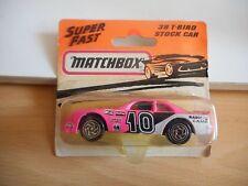 Matchbox T-Bird Stock Car in Pink/White on Blister