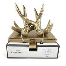 Target Threshold Antlers Stocking Holder Hanger Christmas Gold Brass Color Metal