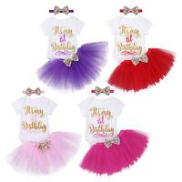 Baby Mädchen Geburtstag Party Kleidung 3tlg outfit Strampler Rock mit Stirnband