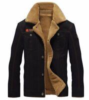 Men's Winter Bomber Pilot Warm Fur Collar Army Jacket Tactical Coat Plus Size