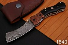 Hand Forged Damascus Steel Folding Knife Engraved Copper Bolster -AJ-1840