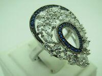 Turkish Handmade Jewelry 925 Sterling Silver Sapphire Stone Ladies' Ring Sz 8
