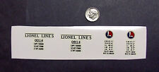 """""""Lionel Lines"""" Pre-War #0014 Yellow Boxcar Waterslide """" Double O"""" Decal"""