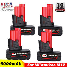 4X 12V Xc 6.0Ah Lithium-Ion Extend Cordless Battery For Milwaukee M12 48-11-2460