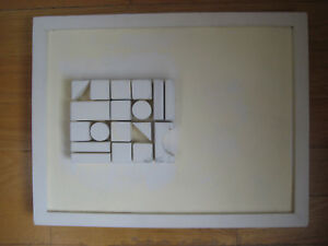 MONOCHROME ABSTRACT OIL PAINTING SCULPTURE ASSEMBLAGE NEVELSON SCHOOL EAMES ERA