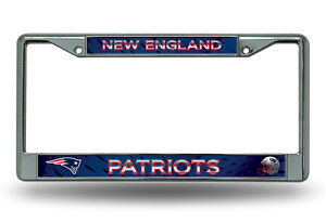 New England Patriots Authentic Metal Chrome License Plate Frame Auto Truck Car