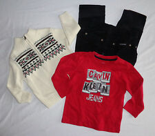 Calvin Klein Boy's Ivory Sweater Red Tee Corduroy Pant 3 Pc Set Size 18 Months