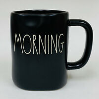 Rae Dunn MORNING Large Letter Artisan Collection Black with White Coffee Mug