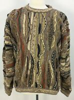 VTG 90s COOGI Classics Multicolored Earth Tone Cotton Linen Sweater Mens Sz XL