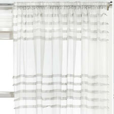 """Assorted Embroidered Voile Slot Top Panels Pairs Multi Colours & Patterns Pleated White 59x90"""" 150x229cm"""