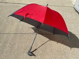 "Aramis Fowl Weather Friend 40"" Gray Red Plastic Duck Head Handle Nylon Umbrella"