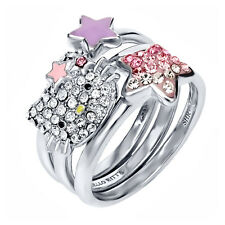 Hello Kitty Pave Crystal Stack Rings with Star Bow and Star Accents