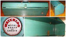 Vintage Waterloo Heavy Duty Metal Carpenters Tool Box Iowa USA