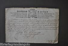 Certificato Buona Condotta Vescovo Amici Spoleto Gazzoni Ancarani Correggio 1829