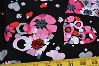 By 1/2 Yd, Pink & Red Flowers & Hearts on Black Cotton, Kaufman/S.E.!, N2982