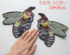 2pcs/1pair Big Bumble Bee Embroidered patches Sew on cool Applique DIY