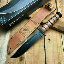 Ka-Bar Full-Size USMC Fighter Straight Edge Knife With Leather Sheath 1217