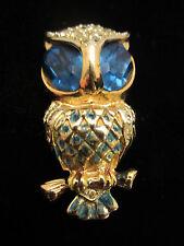 """Rare Vtg 2"""" Unsigned Coro Gold Tone Enamel Blue Rhinestone Owl Fur Clip A41"""