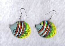 Hand Painted Wooden - Tropical PUFFER FISH Earrings - Fashion Jewelry - RETRO