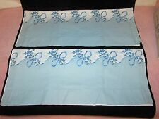 Vintage Pair Cotton Pillowcases - White w/Blue Border Edge w/Roses & Ribbons - f