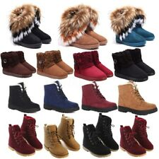 2018 WOMEN ARMY COMBAT FLAT SHOES GRIP SOLE FUR LINED LADIES WINTER ANKLE BOOTS