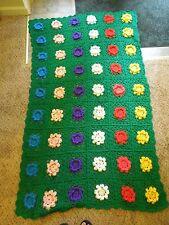 Vintage Handmade Crochet Crocheted Blanket Throw Floral Design Multi-Color