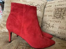 RIVER ISLAND RED ANKLE BOOTS IN SUEDE SIZE 6 39 NEW RRP £60