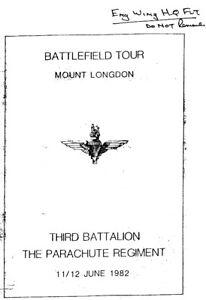 3 PARA'S BATTLEFIELD TOUR ARMY REPORT: MOUNT LONGDON FALKLANDS/ DOWNLOAD