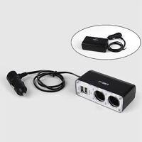 DC 12V 2 Way Car Cigarette Lighter Power Socket Charger Adapter Dual USB Port