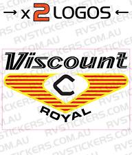 2x VISCOUNT 1970s ROYAL SQUARE LOGO vintage retro Caravan decal
